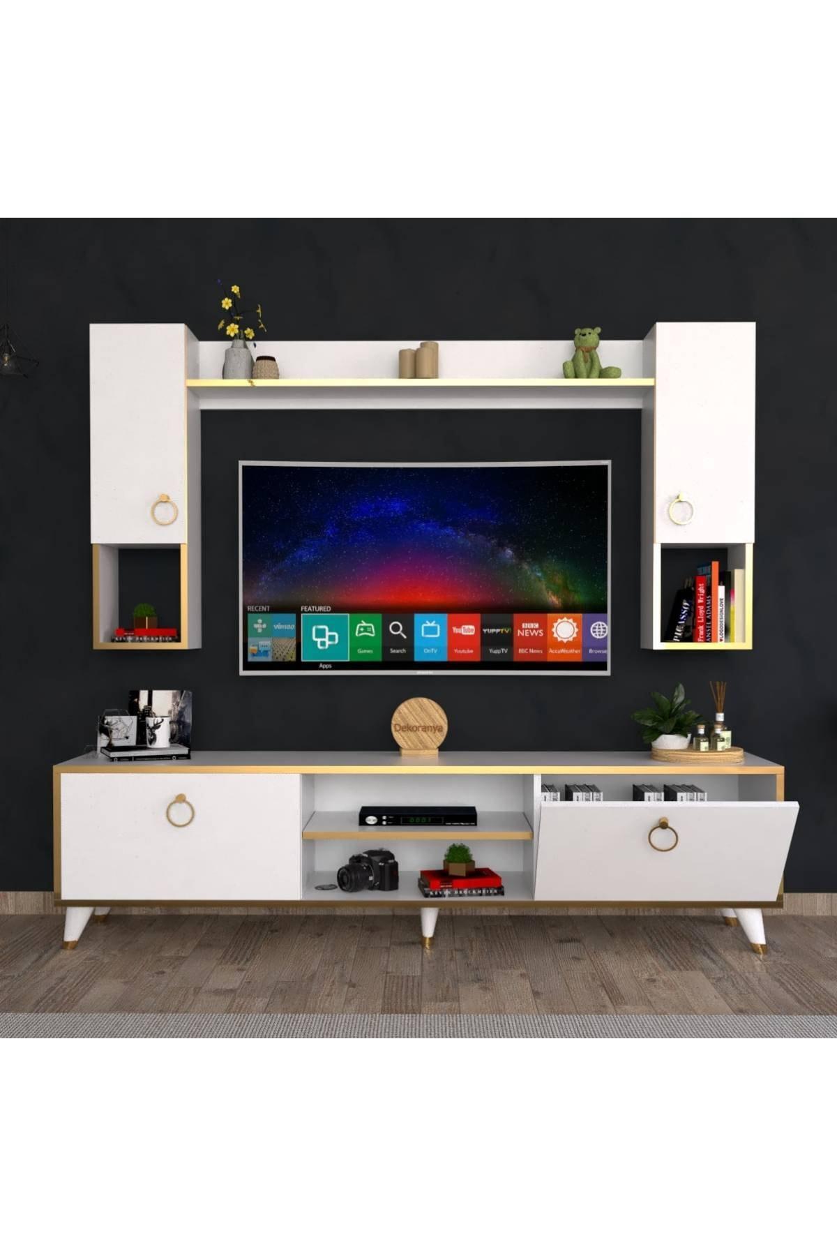 Duvar Raflı Tv Ünitesi 180cm Beyaz-gold Abg3