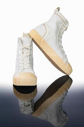 LETOON Kadın Beyaz Yüksek Bilekli Spor Ayakkabı Ltn2021 1