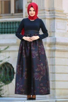 Tesettürlü Abiye Elbise - Bordo Tesettür Abiye Elbise 21090br