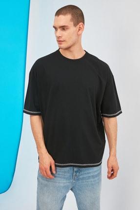 TRENDYOL MAN Siyah Erkek Oversize Bisiklet Yaka Kısa Kollu Nakışlı T-Shirt TMNSS21TS1888 3