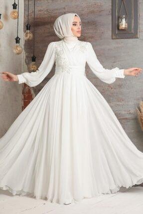 Tesettürlü Abiye Elbise - Dantelli Ekru Tesettür Abiye Elbise 21940e