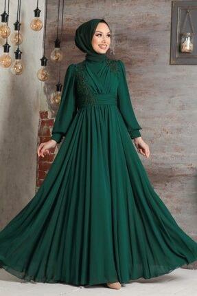Tesettürlü Abiye Elbise - Dantelli Yeşil Tesettür Abiye Elbise 21940y