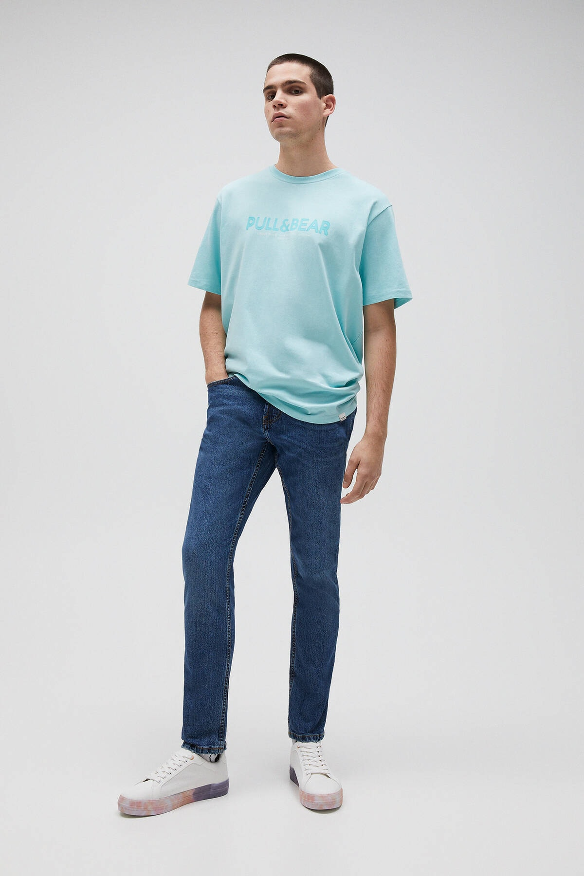 Pull & Bear Erkek Açık Yeşil Logolu Basic Sloganlı T-Shirt 04241706 1