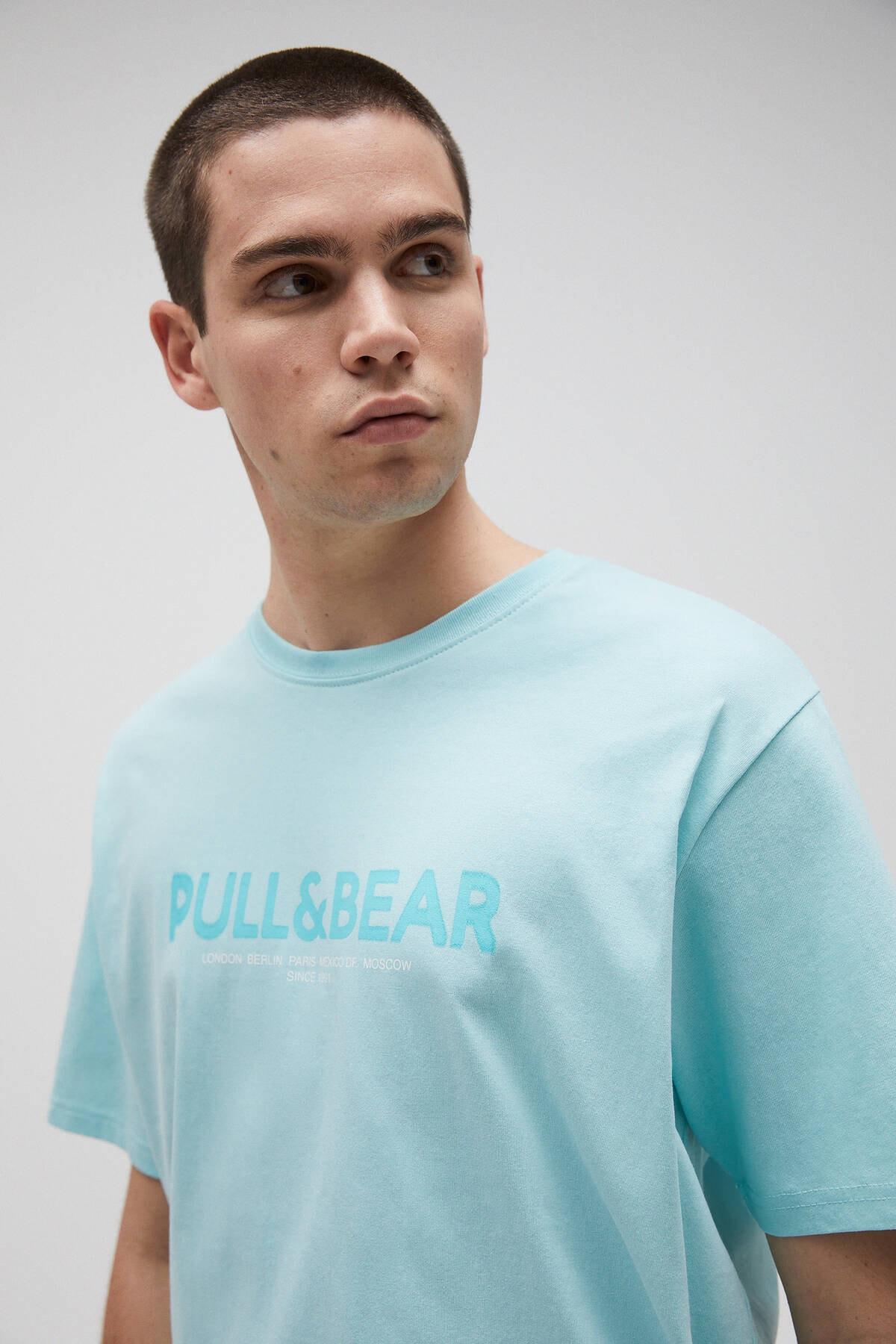 Pull & Bear Erkek Açık Yeşil Logolu Basic Sloganlı T-Shirt 04241706 3