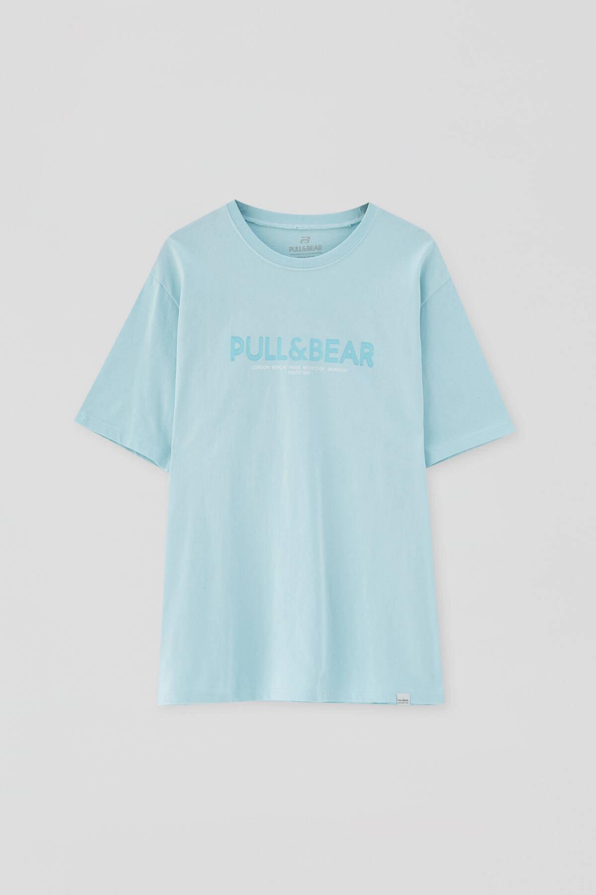 Pull & Bear Erkek Açık Yeşil Logolu Basic Sloganlı T-Shirt 04241706 4