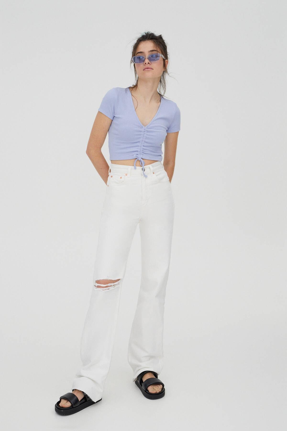 Pull & Bear Kadın Mavi Önü Büzgülü Fitilli Top 04241303 1