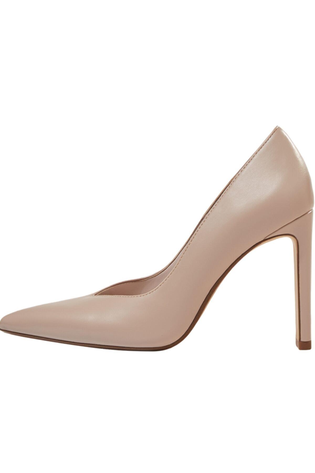 Bershka Kadın Bej V Kesim Topuklu Ayakkabı 11308760 2