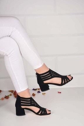 Weynes Kadın Siyah Taşlı Düz Taban Sandalet Ba20856 1