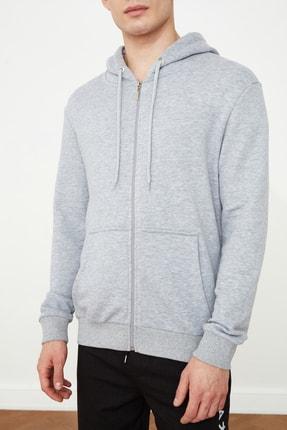 TRENDYOL MAN Gri Erkek Regular Fit Basic Kapüşonlu Fermuarlı Sweatshirt TMNAW20SW0262 2