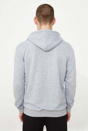 TRENDYOL MAN Gri Erkek Regular Fit Basic Kapüşonlu Fermuarlı Sweatshirt TMNAW20SW0262 4
