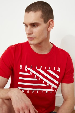 TRENDYOL MAN Kırmızı Erkek Baskılı Slim Fit T-Shirt TMNSS20TS0079 1