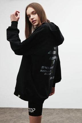 GRIMELANGE AMORA Kadın Siyah Önü ve Arkası Baskılı Kapüşonlu Sweatshirt 2