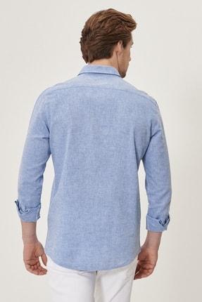 Altınyıldız Classics Erkek K.MAVI Tailored Slim Fit Dar Kesim Düğmeli Yaka Keten Gömlek 4
