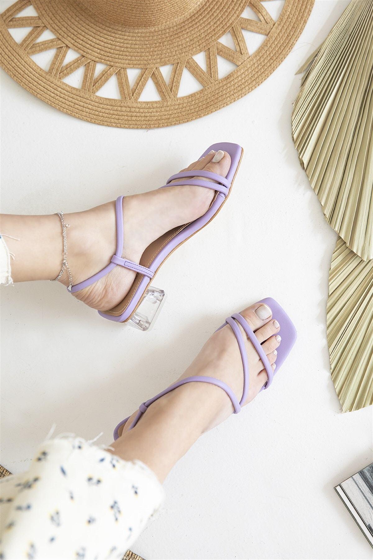 Kadın Lila Manny Topuklu Küt Burun Şeffaf Ökçe Sandalet