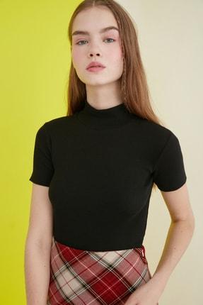 TRENDYOLMİLLA Siyah Crop Örme Bluz TWOSS21BZ0780 1