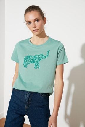 TRENDYOLMİLLA Mint Baskılı Basic Örme T-Shirt TWOSS21TS1559 1