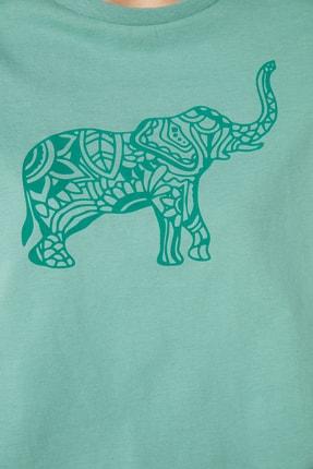 TRENDYOLMİLLA Mint Baskılı Basic Örme T-Shirt TWOSS21TS1559 3