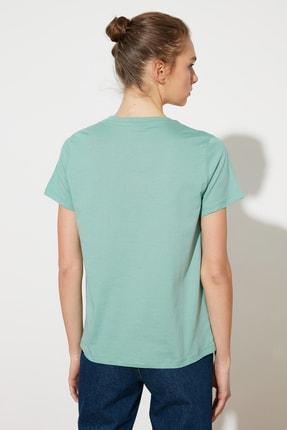 TRENDYOLMİLLA Mint Baskılı Basic Örme T-Shirt TWOSS21TS1559 4