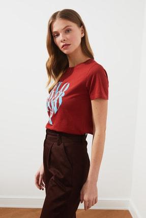 TRENDYOLMİLLA Kiremit Baskılı Basic Örme T-Shirt TWOSS21TS1361 2