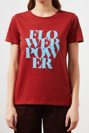 TRENDYOLMİLLA Kiremit Baskılı Basic Örme T-Shirt TWOSS21TS1361 3