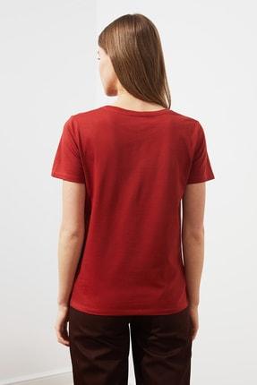 TRENDYOLMİLLA Kiremit Baskılı Basic Örme T-Shirt TWOSS21TS1361 4