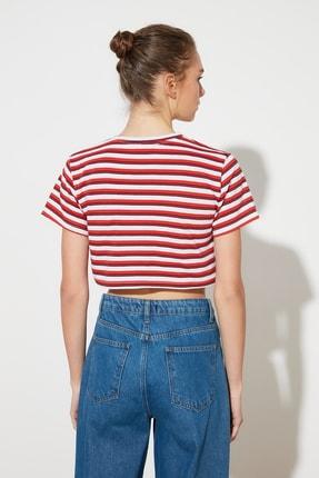 TRENDYOLMİLLA Kırmızı Çizgili Super Crop Örme T-Shirt TWOSS21TS1134 4