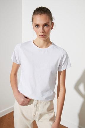TRENDYOLMİLLA Kiremit-Beyaz 2'li Paket Basic Bisiklet Yaka Örme T-Shirt TWOSS21TS0403 1