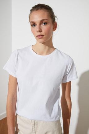 TRENDYOLMİLLA Kiremit-Beyaz 2'li Paket Basic Bisiklet Yaka Örme T-Shirt TWOSS21TS0403 3