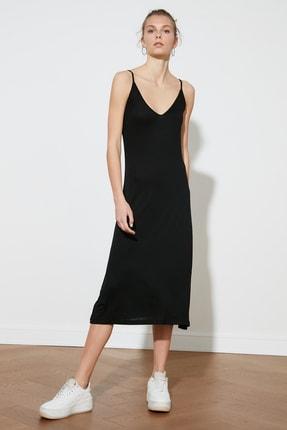 TRENDYOLMİLLA Siyah Askılı Örme Elbise TWOSS19VG0313 1