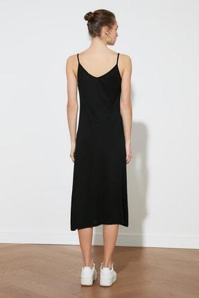 TRENDYOLMİLLA Siyah Askılı Örme Elbise TWOSS19VG0313 4