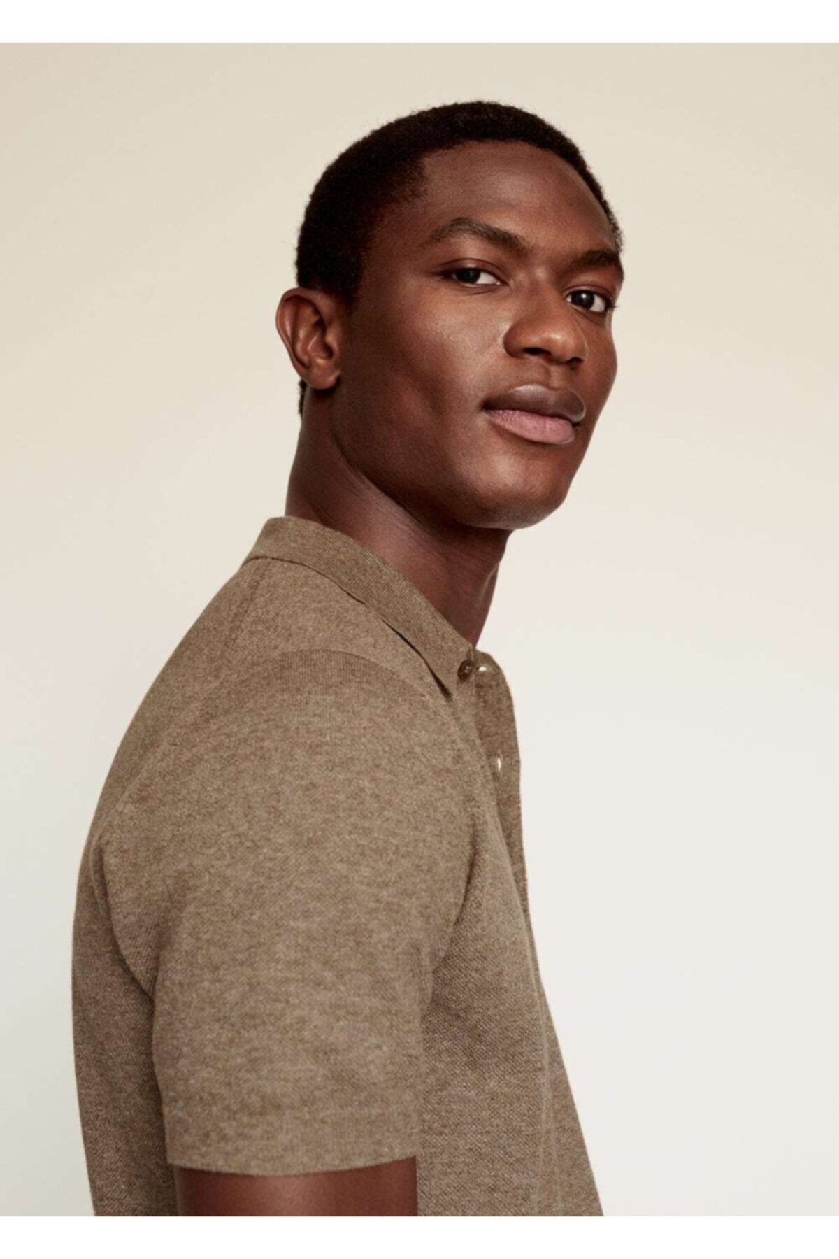 Mango Erkek Bakır  Pamuk Keten Karışımlı Polo Gömlek