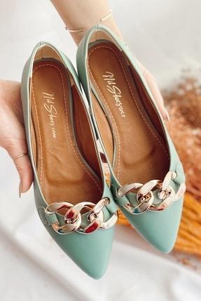 Nil Shoes Kadın Mint Yeşili Cilt Belle Zincir Detaylı Babet 1