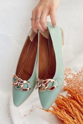 Nil Shoes Kadın Mint Yeşili Cilt Belle Zincir Detaylı Babet 4
