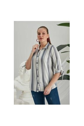 Kadın Çizgili Büyük Beden Bayan Gömlek 04514