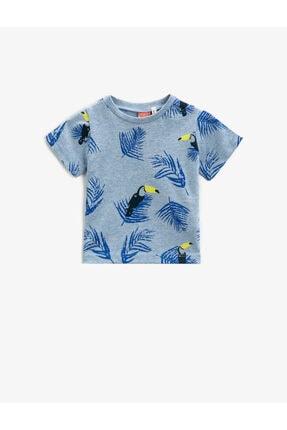 Koton Erkek Bebek Mavi Baskılı  Kısa Kollu Pamuklu Tisört 0