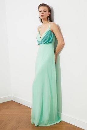TRENDYOLMİLLA Mint Renk Bloklu Şifon Abiye & Mezuniyet Elbisesi TPRSS20AE0083 3
