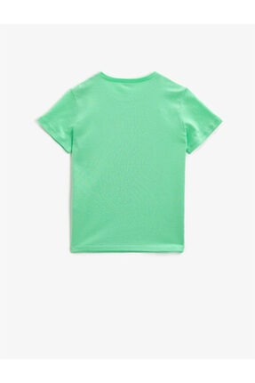 Koton Erkek Çocuk Yeşil Yazılı Bisiklet Yaka Kısa Kollu Pamuklu T-shirt 1