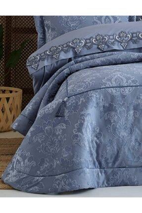 Elart Mavi Rita Nevresimli Çift Kişilik Yatak Örtüsü Seti 3