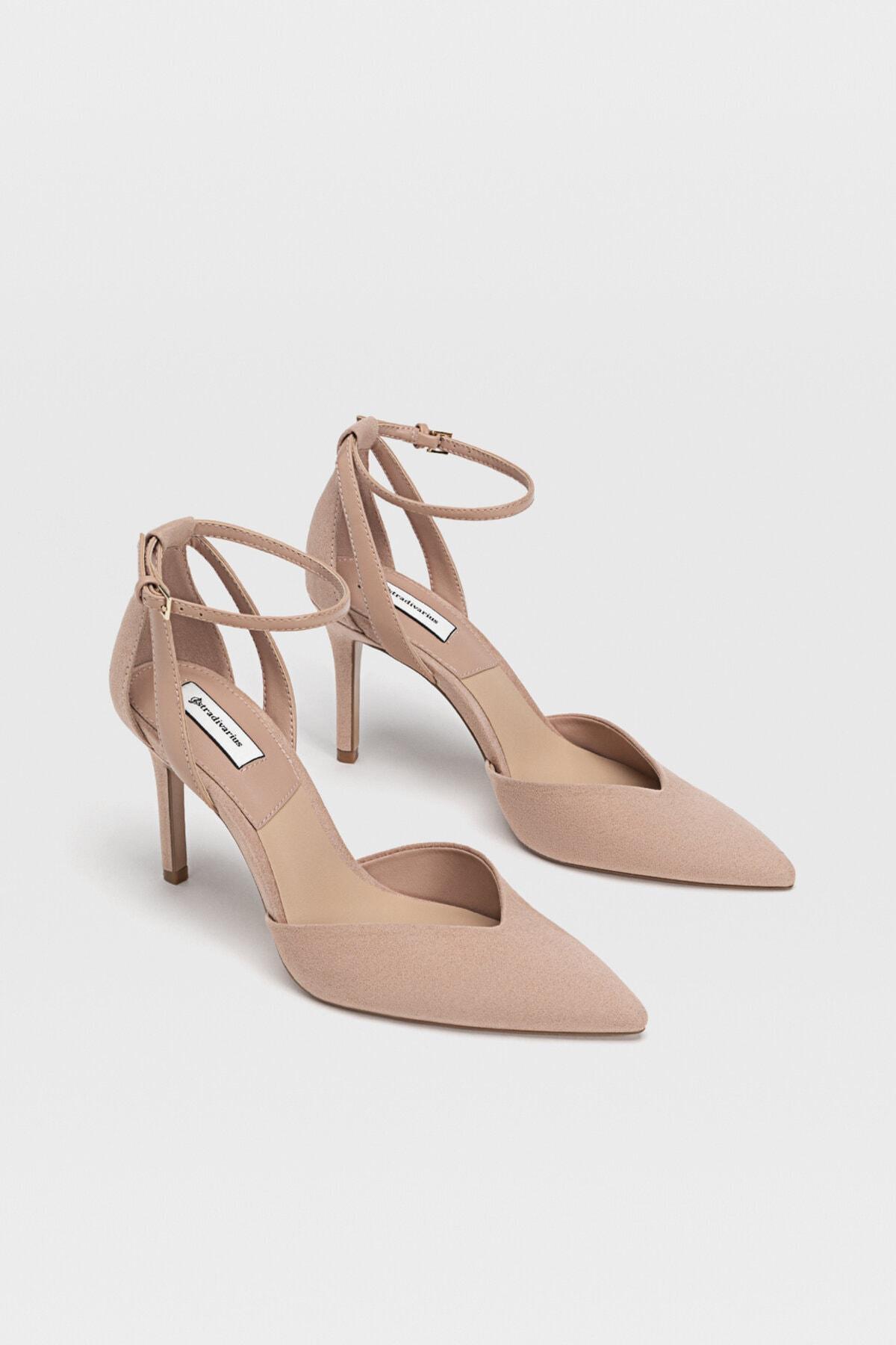Stradivarius Kadın Pudra Bilekten Bantlı Yüksek Topuklu Ayakkabı 19153770 1