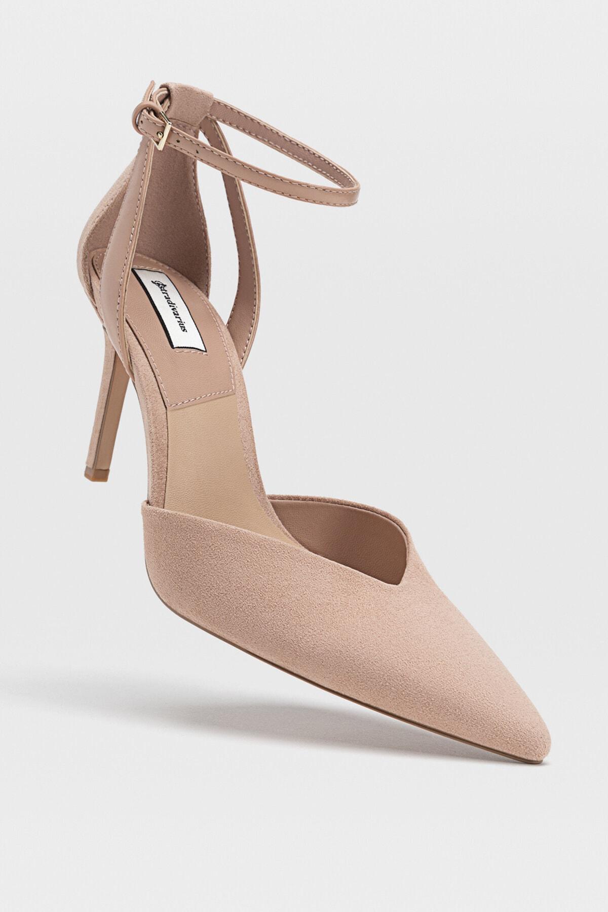 Stradivarius Kadın Pudra Bilekten Bantlı Yüksek Topuklu Ayakkabı 19153770 3