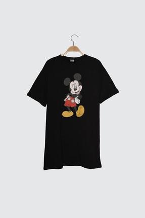 TRENDYOLMİLLA Siyah Mickey Mouse Lisanslı Baskılı Örme Elbise TWOSS21EL0103 4