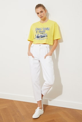 TRENDYOLMİLLA Sarı Baskılı Loose Crop Örme T-Shirt TWOSS21TS1937 3