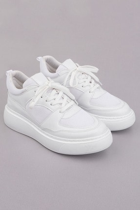 Marjin Kadın Beyaz Sneaker Ayakkabı Levido 4