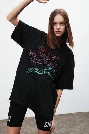 GRIMELANGE PLEASURE Kadın Siyah Baskılı Oversize T-shirt 2