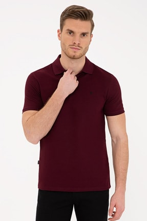 Pierre Cardin Bordo Slim Fit Basic Polo Yaka T-Shirt 0
