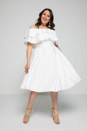 Ekru Büyük Beden Elbise resmi