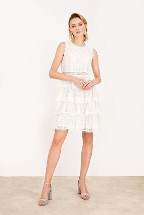 Kadın Ekru Ekol Sıfır Yaka Dantel Elbise 5062