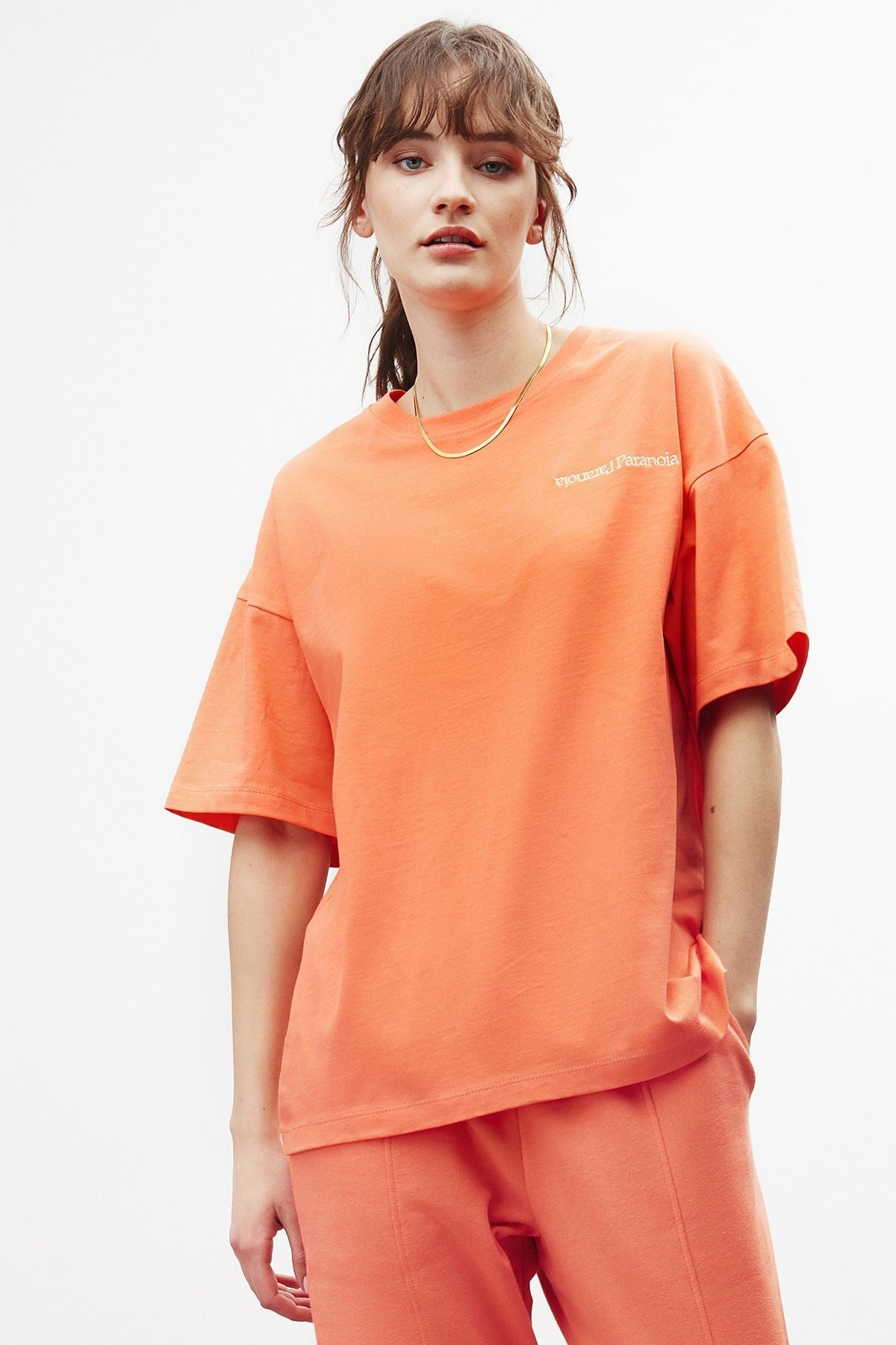 PARANOIA Kadın Narçiçeği Baskılı Oversize T-shirt