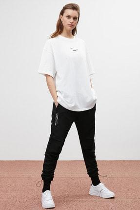 GRIMELANGE SOUL Kadın Beyaz Baskılı Oversize T-shirt 2