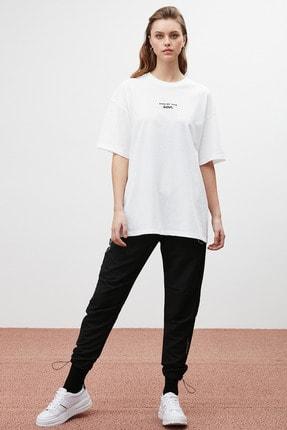 GRIMELANGE SOUL Kadın Beyaz Baskılı Oversize T-shirt 4